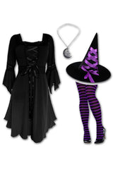 Dare to Wear Victorian Gothic Steampunk Sorceress Witch Costume with Black Renaissance Dress, Purple