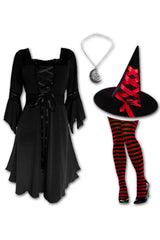 Dare to Wear Victorian Gothic Steampunk Sorceress Witch Costume with Black Renaissance Dress, Red