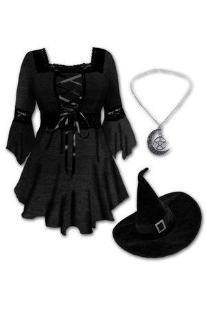 Dare to Wear Victorian Gothic Steampunk Spellcaster Witch Costume with Renaissance Top, Black Rain
