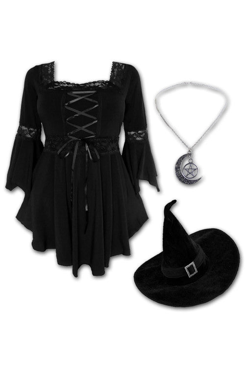 Dare to Wear Victorian Gothic Steampunk Spellcaster Witch Costume with Renaissance Top, Black