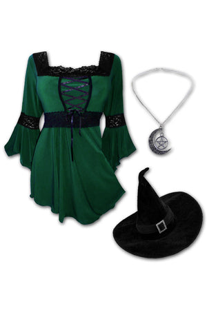 Dare to Wear Victorian Gothic Steampunk Spellcaster Witch Costume with Renaissance Top, Envy