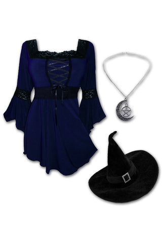 Dare to Wear Victorian Gothic Steampunk Spellcaster Witch Costume with Renaissance Top, Midnight
