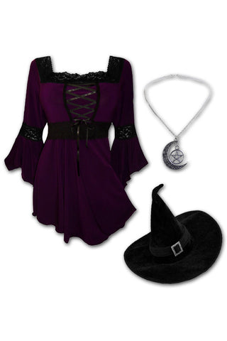 Dare to Wear Victorian Gothic Steampunk Spellcaster Witch Costume with Renaissance Top, Plum