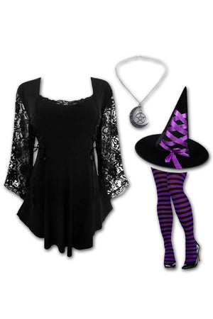 Dare to Wear Victorian Gothic Steampunk Enchantress Witch Costume with Anastasia Top, Black