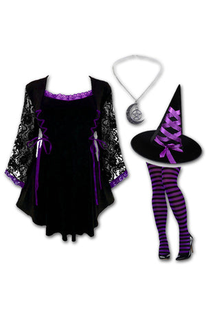 Dare to Wear Victorian Gothic Steampunk Enchantress Witch Costume with Anastasia Top, Purple