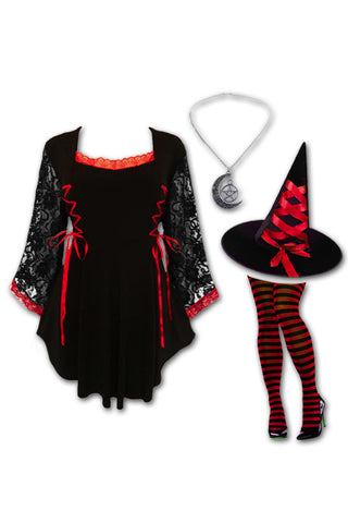 Dare to Wear Victorian Gothic Steampunk Enchantress Witch Costume with Anastasia Top, Scarlet