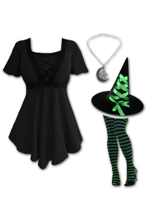 Dare to Wear Victorian Gothic Steampunk Enchantress Witch Costume with Angel Top, Black/Green