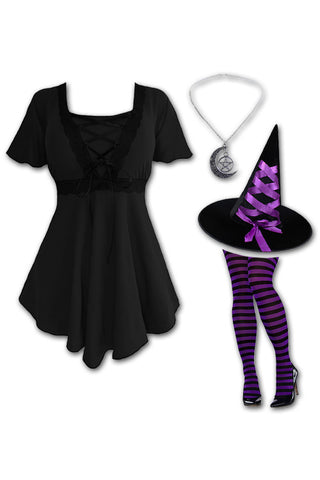 Dare to Wear Victorian Gothic Steampunk Enchantress Witch Costume with Angel Top, Black/Purple