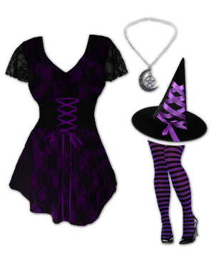 Enchantress Witch Costume with Sweetheart Top, Purple