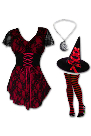 Dare to Wear Victorian Gothic Steampunk Enchantress Witch Costume with Sweetheart Top, Wine