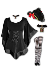 Dare to Wear Victorian Gothic Steampunk Buccaneer Pirate Costume with Treasure Top, Black