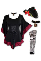 Dare to Wear Victorian Gothic Steampunk Buccaneer Pirate Costume with Treasure Top, Burgundy