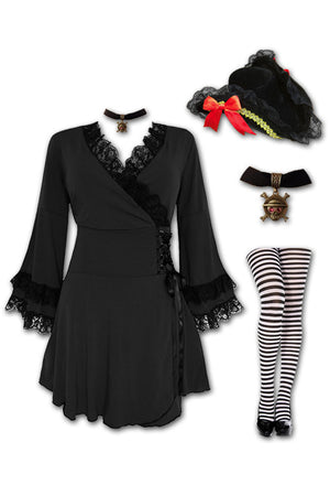 Dare to Wear Victorian Gothic Steampunk Buccaneer Pirate Costume with Victoria Top, Black