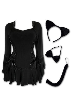 Dare to Wear Victorian Gothic Steampunk Kitty Cat Costume with Bolero Top, Black
