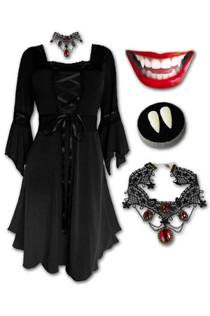 Dare to Wear Victorian Gothic Steampunk Eternal Vampire Costume with Renaissance Dress, Black