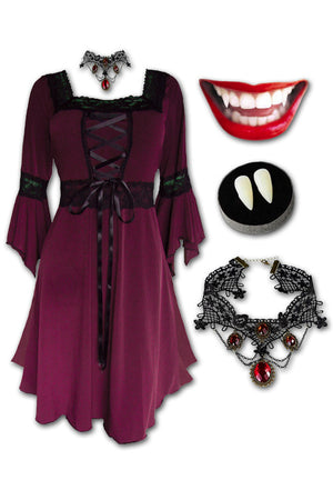 Dare to Wear Victorian Gothic Steampunk Eternal Vampire Costume with Renaissance Dress, Burgundy