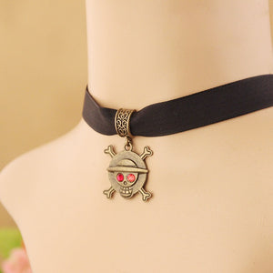 Jolly Roger Pirate Black Velvet Choker Necklace