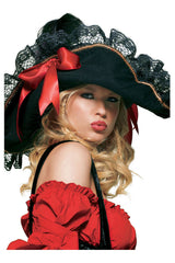 Halloween Pirate Hat in Black/Red