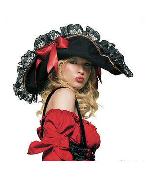 Fancy Black Velour Pirate Hat with Black Lace and Red Bows