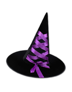 Black Velour Witch Hat with Purple Ribbon