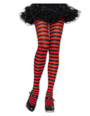 Black/Red Striped Tights