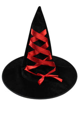 Halloween Witch Hat in Black/Red