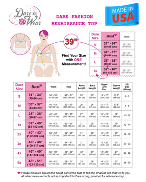 Size Chart for Dare to Wear Victorian Gothic Renaissance Corset Top