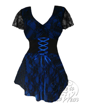 Dare Fashion Sweetheart Top S09 Blueberry Victorian Gothic Corset Chemise