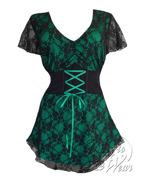 Dare Fashion Sweetheart Top S09 Emerald Victorian Gothic Corset Chemise