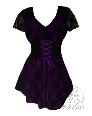 Dare Fashion Sweetheart Top S09 Purple Victorian Gothic Corset Chemise