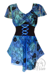 Dare To Wear Victorian Gothic Women's Plus Size Sweetheart Corset Top Blue Lagoon