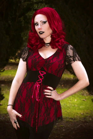 Lady Anna Calypso in Dare to Wear Victorian Gothic Steampunk Sweetheart Corset Top in Wine