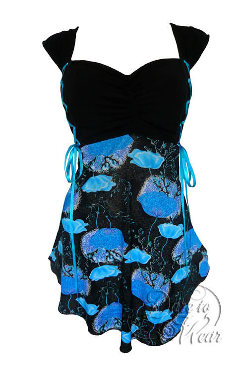 Dare To Wear Victorian Gothic Women's Cinch Corset Top Azure Poppy