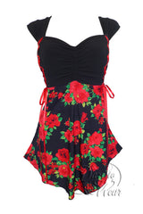 Dare To Wear Victorian Gothic Women's Cinch Corset Top Red Rose