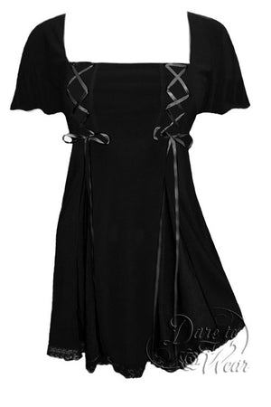 Dare To Wear Victorian Gothic Women's Gemini Princess S/S Corset Top Black