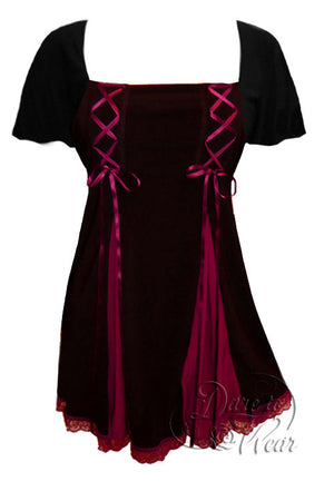 Dare To Wear Victorian Gothic Women's Gemini Princess S/S Corset Top Black/Burgundy