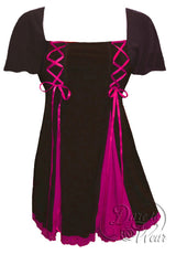 Dare To Wear Victorian Gothic Women's Gemini Princess S/S Corset Top Black/Fuchsia