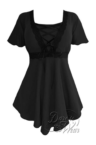 Dare To Wear Victorian Gothic Women's Plus Size Angel Corset Top Black/Black