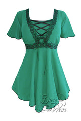 Dare To Wear Victorian Gothic Women's Plus Size Angel Corset Top Emerald/Black