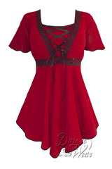Dare To Wear Victorian Gothic Women's Plus Size Angel Corset Top Scarlet/Black