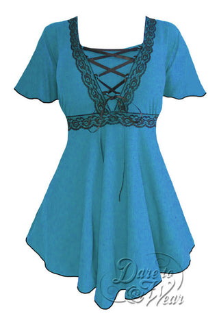 Dare To Wear Victorian Gothic Women's Plus Size Angel Corset Top Turquoise/Black