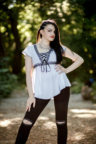 Angel Top in White/Black