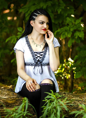 Gordana in Victorian Gothic Dare Fashion Angel Corset Top in White