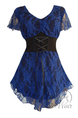Dare To Wear Victorian Gothic Women's Plus Size Sweetheart Corset Top Blue Violet