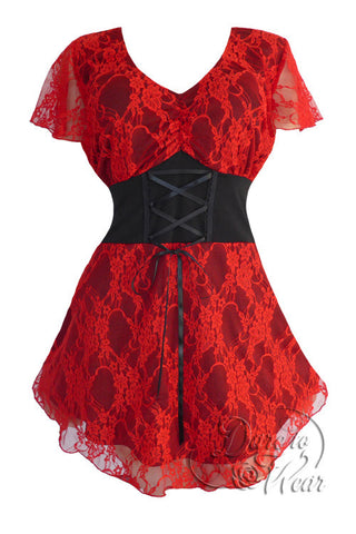 Dare To Wear Victorian Gothic Women's Plus Size Sweetheart Corset Top Scarlet