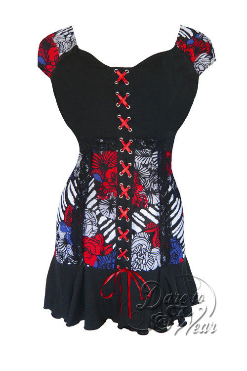 Dare To Wear Victorian Gothic Women's Cabaret Short Sleeve Corset Top American Girl