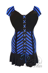 Dare To Wear Victorian Gothic Women's Cabaret Short Sleeve Corset Top Blue Vertigo