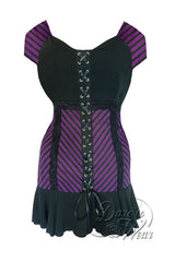 Dare To Wear Victorian Gothic Women's Cabaret Short Sleeve Corset Top Purple Maze