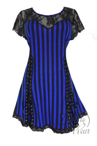 Dare To Wear Victorian Gothic Women's Roxanne Corset Top Blue Vertigo