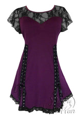 Dare To Wear Victorian Gothic Women's Roxanne Corset Top Plum